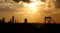 Silhouette of Istanbul and Bosporus Bridge in a rush hours Stock Footage