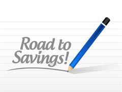 road to savings message sign illustration design - stock illustration