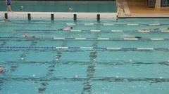 Aquatic Center swimmers. Stock Footage