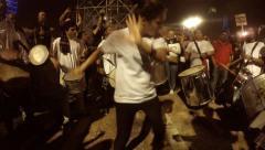 Revellers of the Samba Batucada of Juarez dos Santos dance Stock Footage