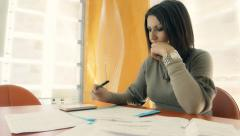 Businesswoman worried and discouraged by the financial result Stock Footage