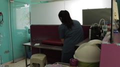 Veterinary Medical Office Staff with Shih Tzu, Examination Room - stock footage