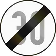 End Of Speed Limit 30 in Austria Stock Illustration