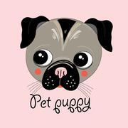 portrait of a puppy - stock illustration