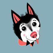 portrait of a puppy huskies - stock illustration