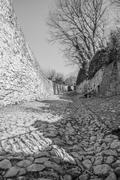 ancient medieval road that leads from the village of Soave (Italy) to the cas - stock photo