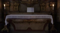 4k Altar and Jesus crucifix Cathedral of Funchal Madeira Stock Footage