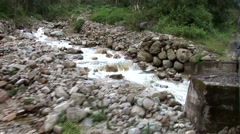 Train trip in Peru to Machu Picchu alongside the river Urubamba Stock Footage
