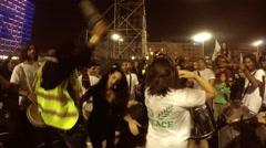 Revellers of the Samba Batucada of Juarez dos Santos dance - stock footage