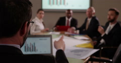 Team of multi ethnic business people in a meeting. Stock Footage