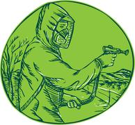 Herbicide Pesticide Control Exterminator Spraying Etching - stock illustration