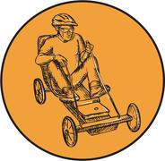 Rider Riding Soapbox Etching Stock Illustration