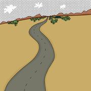 Road Through Desert - stock illustration