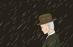 Serious Man in Rain Stock Illustration
