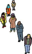 Group of Six Adults Standing Stock Illustration