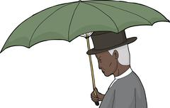 Isolated Man Holding Umbrella - stock illustration