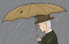 Man with Hole in Umbrella - stock illustration