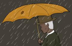 Man With Torn Umbrella in Storm - stock illustration