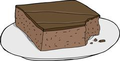 Brownie with Bite Mark on Plate - stock illustration