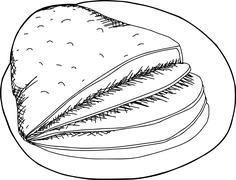 Outlined Baked Ham - stock illustration