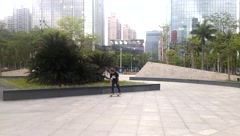 China young people skateboarding in practice Stock Footage