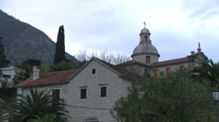 Old stone church at Kotor Bay,Montenegro Stock Footage