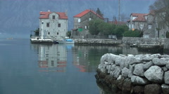 Small port with boats at Kotor Bay, Stock Footage