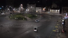 Night aerial view on big traffic square in the center of Belgrade capital city. Stock Footage