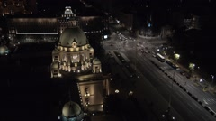 Aerial view on Serbian parliament building Stock Footage