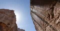 Rock Canyon Walls with Sun in the American Southwest - stock footage
