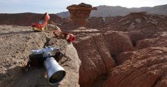 A Fallen Tourist or Jumper in Badlands with Designer Accessories Closer Stock Footage