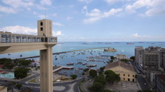 Lacerda Elevator and All Saints Bay in Salvador, Bahia, Brazil Stock Footage