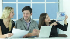 Project manager listens report - stock footage