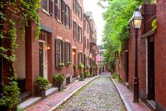 Acorn street Beacon Hill cobblestone Boston Stock Photos