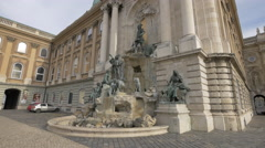 Royal Palace sculptures in Budapest Stock Footage