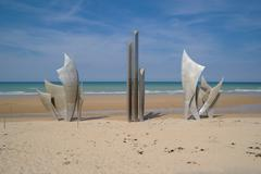 Omaha Beach Memorial Metal Monument - stock photo