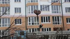 Construction. Man raises a concrete slab. Stock Footage