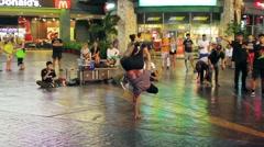 Street performers breakdance, Thailand Stock Footage