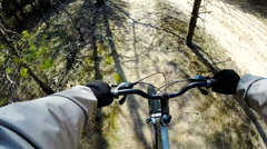 Cross country mountain biking Point Of View POV Stock Footage