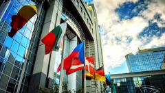 EU members flags in front of European Parliament building. Brussels, Belgium Stock Footage