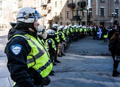 Cops making a line to Control the Protesters - stock photo