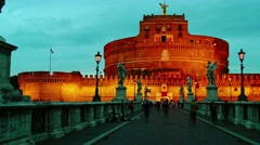 Tourists Visit Castel Sant'Angelo Bridge , time lapse,4k,pan and zoom Stock Footage