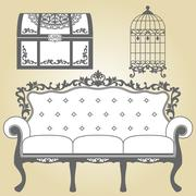 Vintage Sofa Vintage Bird Cage and Vintage Trunk - stock illustration