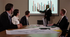 A confident businessman presenting a financial report to his team. Stock Footage