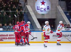 CSKA team rejoice, Yokerit dissapoint - stock photo