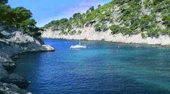 Calanques of Port Pin in Cassis Stock Footage