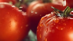 Tomatoes with drops of water Stock Footage