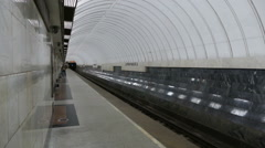 Metro Station (empty) and the arrival of the train Stock Footage