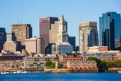 Boston skyline with river sunlight Massachusetts - stock photo