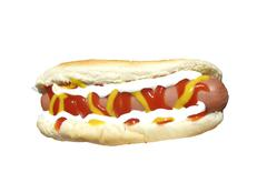 Hotdog with the works isolated Stock Photos